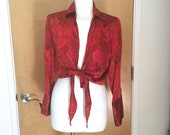 Vintage Abstract Silk Blouse Cache Two Options Tie Front or Back