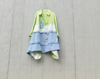 Upcycled, Denim, Boho, Bohemian, Gypsy, Linen Dress, Patchwork, Statement Dress, Festival, Lime Green, Repurposed, Reclaimed, Blue Jeans