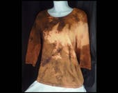 Acid washed large maternity top Liz Lange bleached blouse acid wash shirt pregnancy prenatal long sleeve brown tan beige (shirt no. 137)