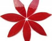 12 XL Cherry Red TIFFANY Iridescent Stained Glass Petal Shaped Mosaic Tiles//Mosaic Supplies//Mosaic Pieces//Crafts