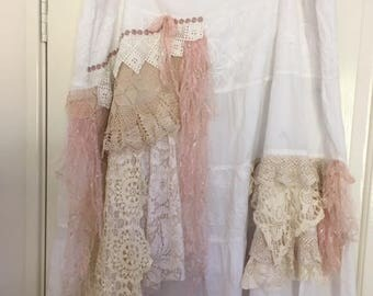 plus size, AU size 22,  cotton skirt, Shabby Chic skirt, vintage lace skirt, boho crochet lace layered skirt