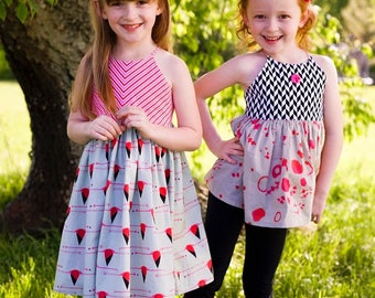 Amsterdam Top, Dress and Maxi Dress PDF Sewing Pattern, including ages 12 months-12 years, Girls Dress Pattern, Patchwork Dress &Top Pattern