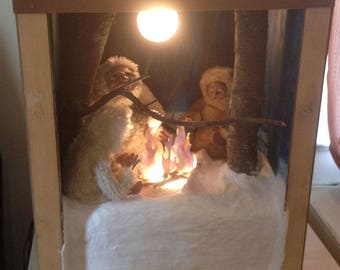 Winter in July: Television set like box with a winter moonlight sculpted scene with three handmade art dolls OOAK situated in a snowy forest