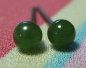 Titanium Stud Earrings / Sensitive Earrings / Allergy Free Earrings for Metal Allergies - Nephrite Jade Gemstone Nephrite Jade Studs