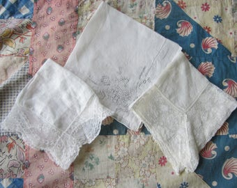 Vintage White Wedding Handkerchiefs Large Lace Trim & Embroidery Set of 3 Ladies Hankies