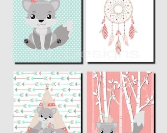 Woodland Nursery Decor, Coral Mint Aqua Teal, Tribal Fox Wall Art, Fox Nursery Art, Little Spirit, Gray Fox, Love, Set of 4 Prints or Canvas