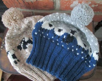 Grey and Blue Sheep Hat and Beige Cow Hat