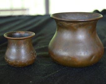 Antique Miniature Copper Metal Bowls / Vases Set of 2 Late 1800's - Early 1900's