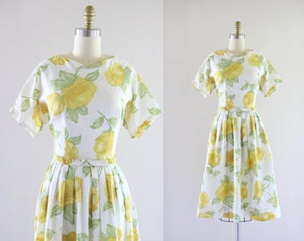 1950's golden rose dress