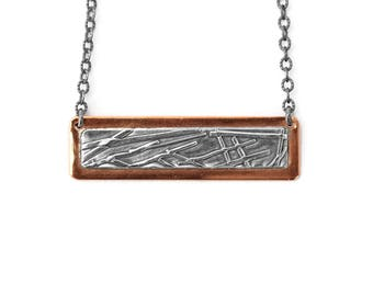 Copper and Silver Necklace, Southwest Necklace, Copper and Silver Bar Necklace, Southwest Jewelry, Handmade Copper Jewelry, Copper Necklace