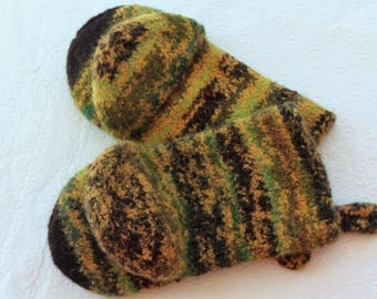Knit Felted Wool Oven Mitt Set in Yellow, Brown, Green Oven Mitt Set, Knit Felted Oven Mitts, Gold Brown Wool Oven Glove Set, Hostess Gift
