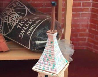 "SALE Miniature Birdhouse, ""Monastery Tower Birdhouse"" Dollhouse Miniature, 1:12 Scale, Mini Bird House, 2 Story Birdhouse"