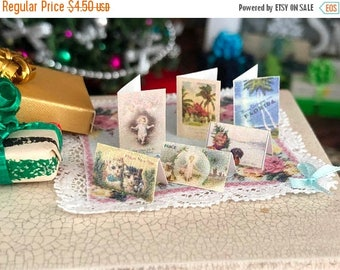 SALE Miniature Cards, Christmas Card Set, 6 Pieces, Dollhouse Miniature, 1:12 Scale, Holiday Decor, Miniature Accessories