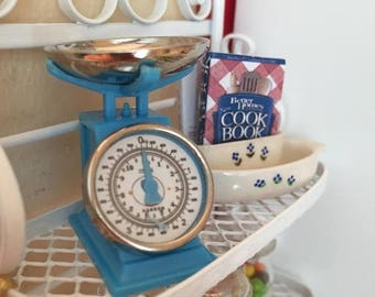 SALE Miniature Blue Scale, Kitchen Grocery Scale, Dollhouse Miniature, 1:12 Scale, Kitchen Decor, General Store, Topper, Accessory