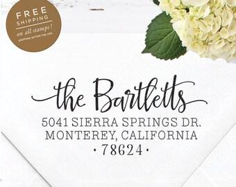 Custom Address Stamp, Self Inking Return Address Stamp, Wedding Stamp, Calligraphy Address Stamp, Custom Stamp - Bartlett