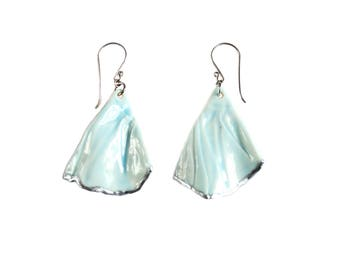 RUCHED No6 artisan celadon blue porcelain earrings with silver accents and sterling silver wires