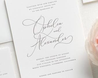 Ophelia Letterpress Wedding Invitations - Deposit