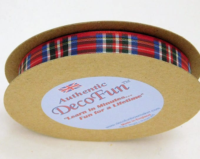 Royal Stewart Red Plaid Ribbon, 5/8 inch width (15 mm) Woven Edge genuine Scottish Tartan Made in England 15 ft, Christmas, Food Gift Wrap