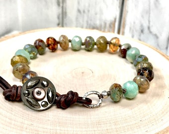 Boho Bracelet - Rustic Warm Earthtone Picasso Czech Beaded Bracelet - Hand-knotted - Vintage, Steel Cut Button - Vintage Glam Bracelet