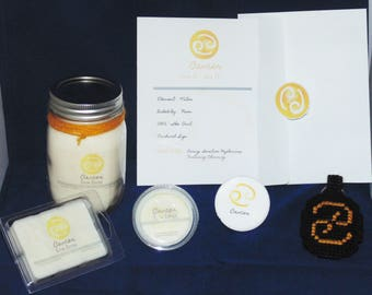 Zodiac Gift Set, CANCER , Sign 16 oz Candle Set, Soy Waxmelts, Astrology Gift, Keychain, Button, Constellation, THE CRAB