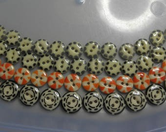 48 China Buttons -Vintage China Stencil Buttons -Bright Colors... made 1850 to 1930---  Excellent
