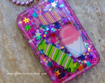 Iridescent Purple Glitter Candy Resin Statement Necklace, Rainbow Confetti Stars & Sweet Treats Unique Kawaii Resin Pendant, Glitter Fusion