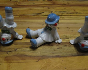 Set of three vintage ceramic clowns.... Fitz and Floyd