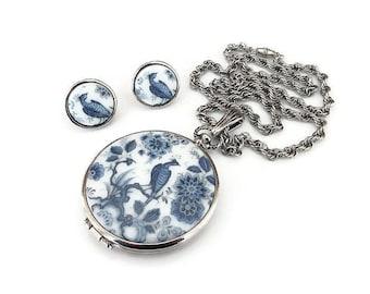 Goldette Blue Delft Necklace Earrings - Peacock Bird, Floral Blue White, Silver Metal, Goldette Locket, Vintage Jewelry Set