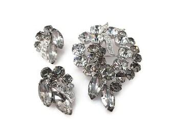 Eisenberg Ice Brooch Earrings, Smoke Gray, Eisenberg Rhinestone, Silver Rhodium, Vintage Brooch, Vintage Earrings, Vintage Jewelry
