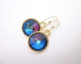 Dark Crystal Dangles -- Purple Blue Swarovski Earrings -- Dark Purple Blue Earrings -- Heliotrope Crystal Earrings -- Heliotrope Dangles