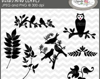 65%OFF SALE Bird clip art, owl clip art, leaves clip art, bird on branch clip art, digital stamp, bird digital stamps, owl digital stamp, DS