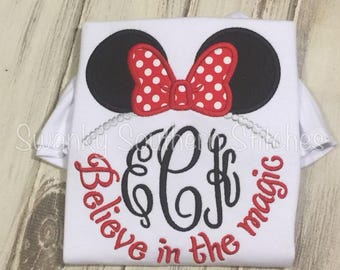 Believe in the Magic Minnie Mouse!  Mrs. Mouse, Minnie Bow Applique Shirt