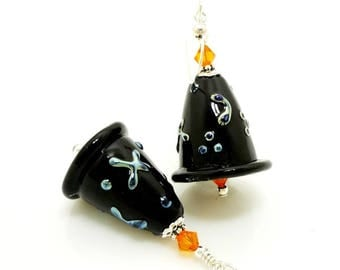 Black Witch Hat Earrings, Halloween Earrings, Lampwork Earrings, Glass Earrings, Witch Jewelry, Halloween Jewelry, Glass Bead Earrings