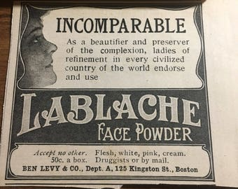 Circa 1905 LaBlache Face Powder ad.