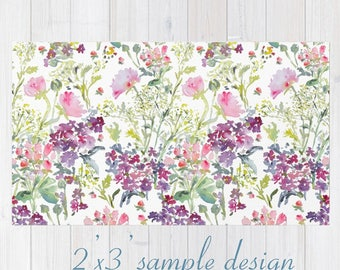 Throw Rug with Watercolor Floral Design, Floral Area Rug, 2'x3', 3'x5' & 4'x6' Home Accent Designer Rug