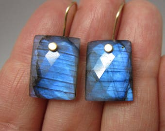 Blue Labradorite Rectangular Drops Solid 14k Gold Earrings
