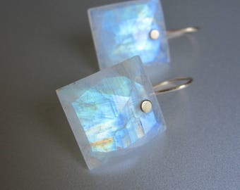Large Rainbow Moonstone Cushions Solid 14k Gold Earrings