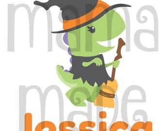 Girls Halloween Dinosaur Shirt, Girls Halloween Shirt, Girls Witch Shirt, Dinosaur witch shirt, witch shirt, dinosaur witch tee, halloween