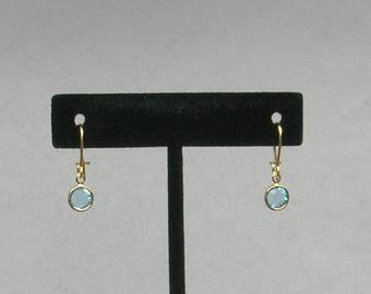 March Birthstone- Aquamarine Drop GP Earrings