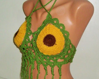 Sunflower, Festival Clothing, Burning Man Clothing Women, Rave Outfit, Rave Bra, Music Festival Clothing, Gypsy Clothing, Festival Outfit