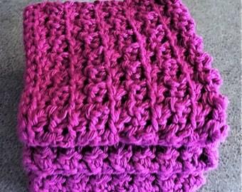 Wash Cloth, Burgandy, Set of 3, 8x8, Crochet, Massage Cloth, Spa Cloth, Face and Body, Dish Cloth, 100% Cotton