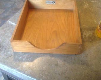 Vintage Office Wood File Box Hedges Line #1721 Desk Top Organizer MCM