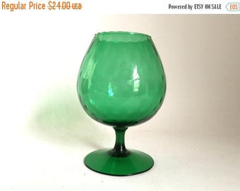 SALE - Mid-Century Modern Italian Empoli Green Glass Pedestal Vase