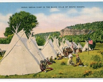 Sioux Native American Indian Black Hills South Dakota linen postcard