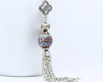 Mood Tassel Necklace, Antique Silver Mood Necklace, Mood Bead Necklace, Color Changing Necklace, Long Chain Tassel Necklace, Mood Jewelry