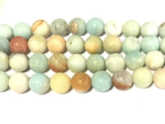 1 Full strand -  8 mm size round frosted amazonite gemstone beads - GM442