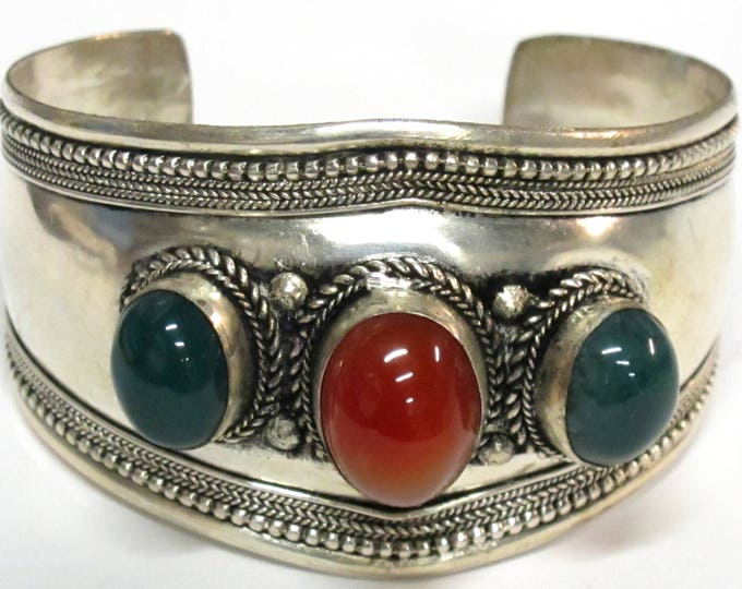 Gorgeous Large big wide cuff Tibetan green onyx and carnelian gemstone adjustable size cuff bracelet Handmade in Nepal - JM009D