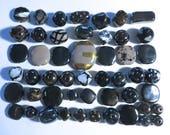 Kazuri Beads, 50 Kazuri Beads, Black Grey and White Coloured Ceramic Beads, Kazuri African Beads No. 49