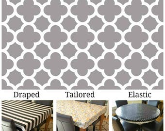 Oilcloth aka laminated cotton heavyweight tablecloth pick fitted by TAILORING or fitted by ELASTIC or DRAPED, gray and ivory quatrefoil