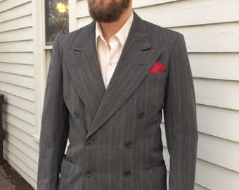 40s Mens Suit Double Breasted Vintage 1940s 40 AS IS Progress Tailoring Chicago